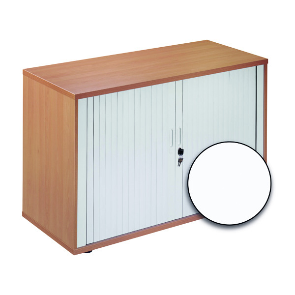 Unspecified Jemini Side Opening Tambour Cupboard Desk High White KF818542