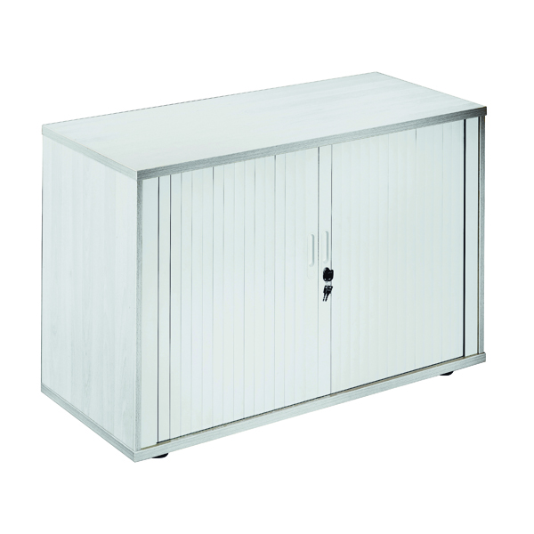 Up to 1200mm High Jemini Side Opening Tambour Cupboard 2m High White KF818596