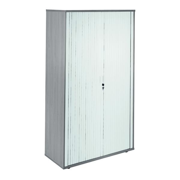Up to 1200mm High Jemini Side Opening Tambour Cupboard 2m High Grey Oak KF818603