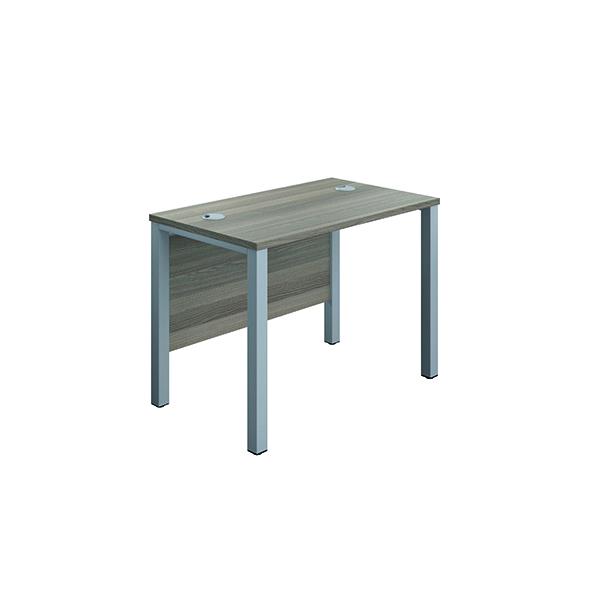 Rectangular Jemini GoalPost Rect Desk 1000x600mm Grey Oak-Silver GP1060RECGOSV