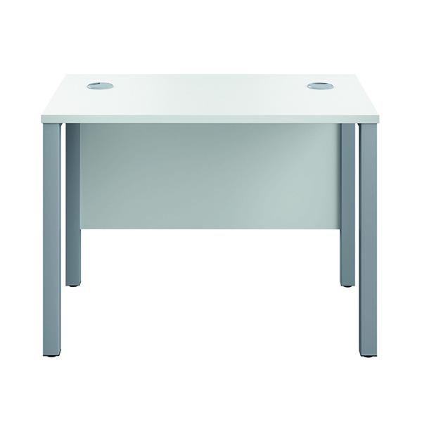 Rectangular Jemini GoalPost Rect Desk 1000x600mm White-Silver GP1060RECWHSV