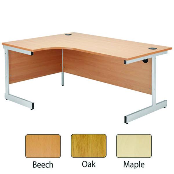 Jemini Beech/Silver 1200mm Left Hand Radial Cantilever Desk KF838039