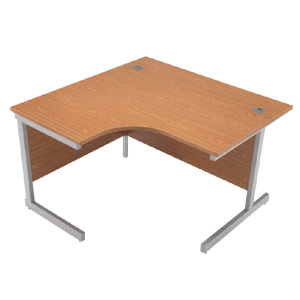 Radial Jemini Oak/Silver 1200mm Left Hand Radial Cantilever Desk KF838040