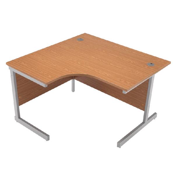 Jemini Oak/Silver 1200mm Left Hand Radial Cantilever Desk KF838040