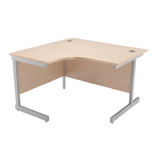 Radial Jemini Maple/Silver 1200mm Left Hand Radial Cantilever Desk KF838041