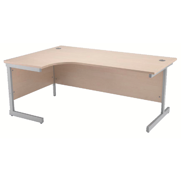 Radial Jemini Maple/Silver 1600mm Left Hand Radial Cantilever Desk KF838047