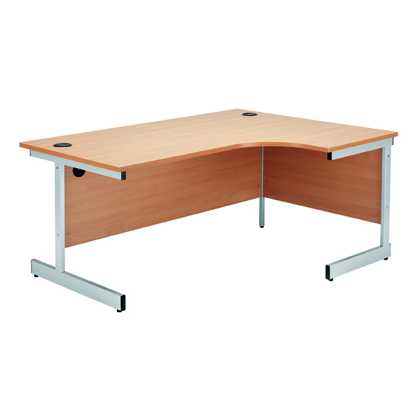 Radial Jemini Beech/Silver 1600mm Right Hand Radial Cantilever Desk KF838048