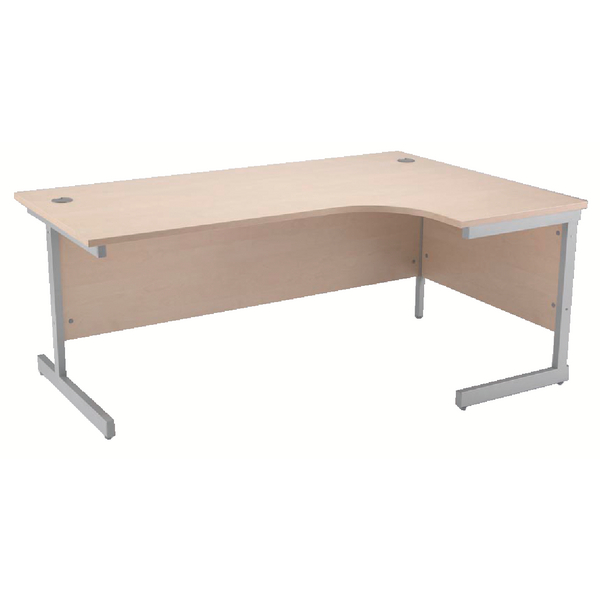 Radial Jemini Maple/Silver 1600mm Right Hand Radial Cantilever Desk KF838050