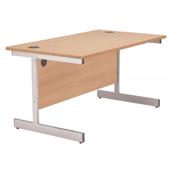 Rectangular Jemini Beech/Silver 1200mm Rectangular Cantilever Desk KF838075