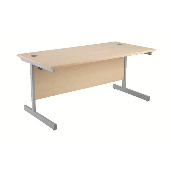 Rectangular Jemini Maple/Silver 1200mm Rectangular Cantilever Desk KF838077