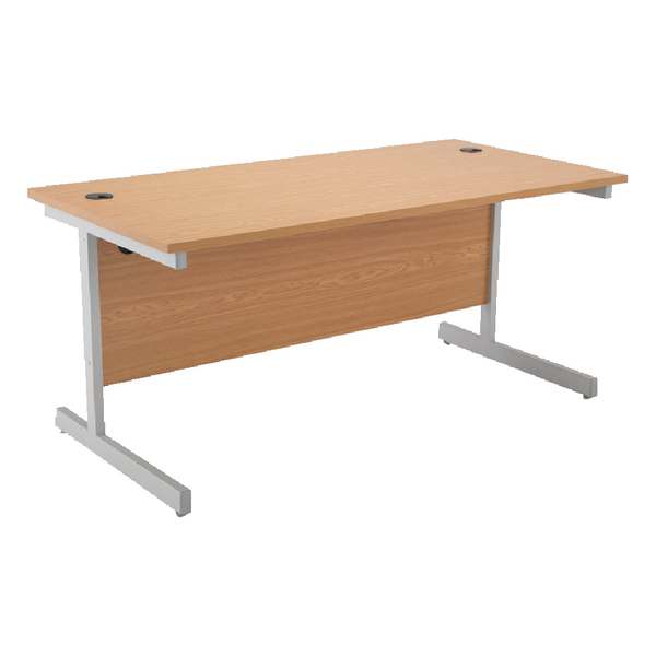 Jemini Oak/Silver 1600mm Rectangular Cantilever Desk KF838079
