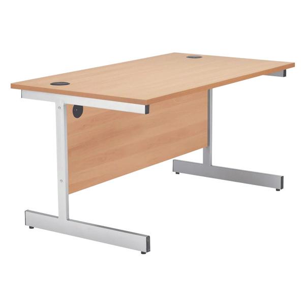 Jemini Beech/Silver 1800mm Rectangular Cantilever Desk KF838081