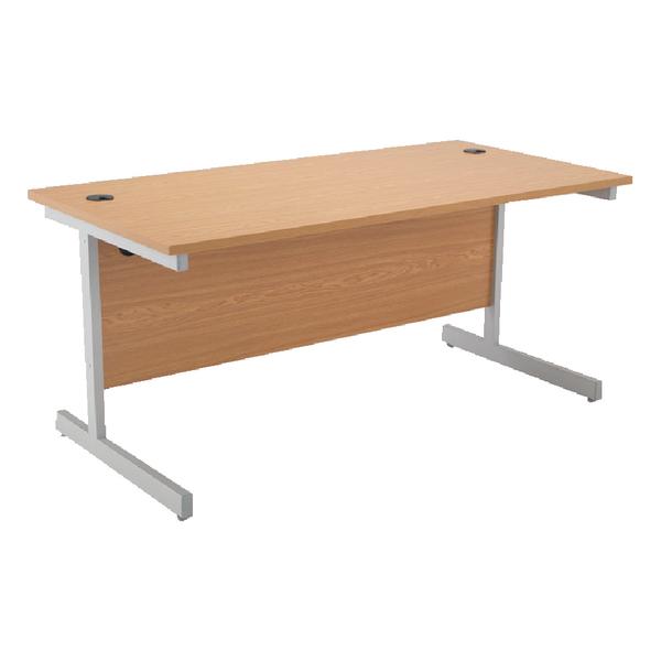 Rectangular Jemini Oak/Silver 1800mm Rectangular Cantilever Desk KF838082