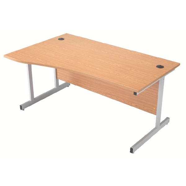 Wave Jemini Beech/Silver 1600mm Left Hand Cantilever Wave Desk KF838093