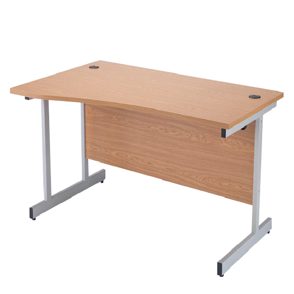Jemini Oak/Silver 1600mm Left Hand Cantilever Wave Desk KF838094