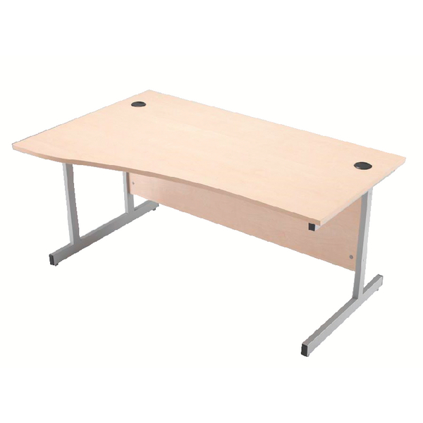 Wave Jemini Maple/Silver 1600mm Left Hand Cantilever Wave Desk KF838095