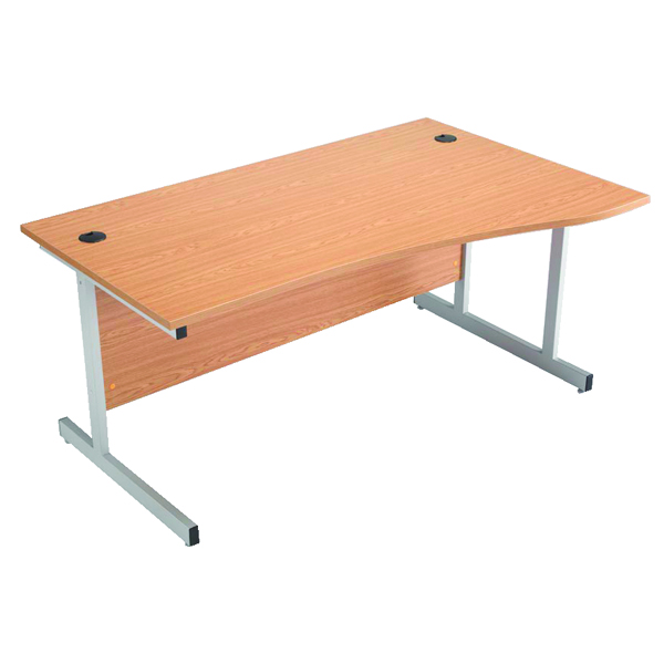 Wave Jemini Beech/Silver 1600mm Right Hand Cantilever Wave Desk KF838096