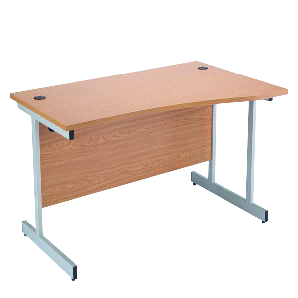 Wave Jemini Oak/Silver 1600mm Right Hand Cantilever Wave Desk KF838097