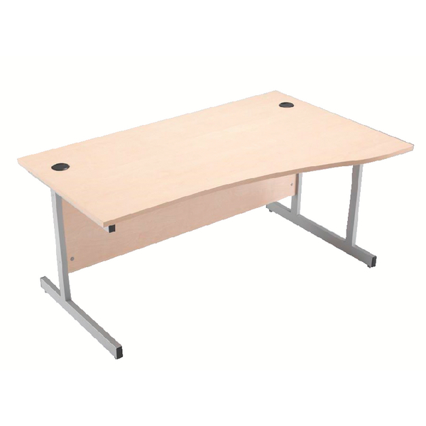 Wave Jemini Maple/Silver 1600mm Right Hand Cantilever Wave Desk KF838098