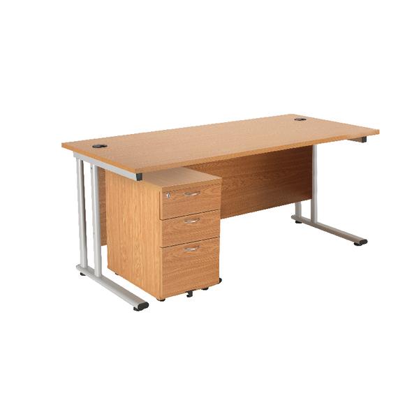 Rectangular First Rectangular Desk and Pedestal Bundle 1600mm and 3 Drawer Under Desk Pedestal Beech KF838158
