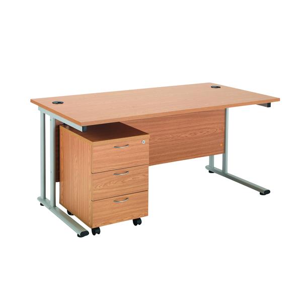 Rectangular First Rectangular Desk and Pedestal Bundle 1600mm and 3 Drawer Under Desk Pedestal Oak KF838159
