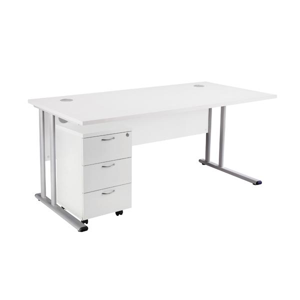 First Rectangular Desk and Pedestal Bundle 1600mm and 3 Drawer Under Desk Pedestal White KF838160