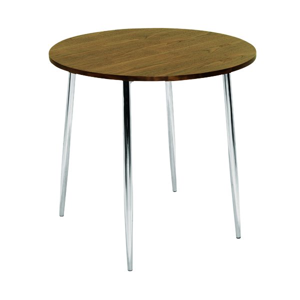 Tables Arista Walnut/Chrome 800mm Round Bistro Table KF838316