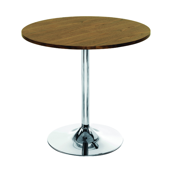 Tables Arista Walnut/Chrome 800mm Small Bistro Trumpet Table KF838318