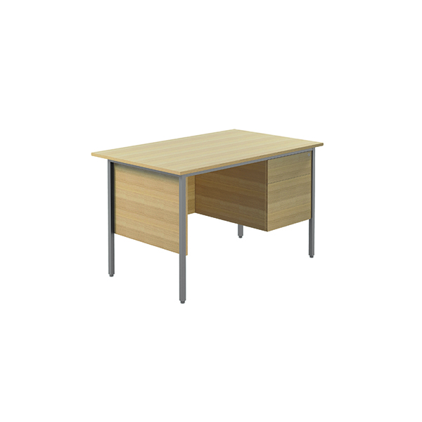 Unspecified Serrion Ferrera Oak 1200mm Four Leg Desk with Two Drawer Pedestal KF838372