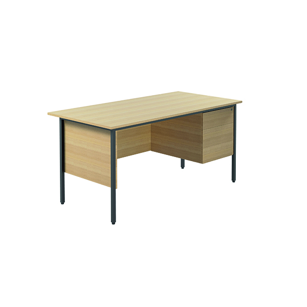 Unspecified Serrion Ferrera Oak 1500mm Four Leg Desk with Two Drawer Pedestal KF838376