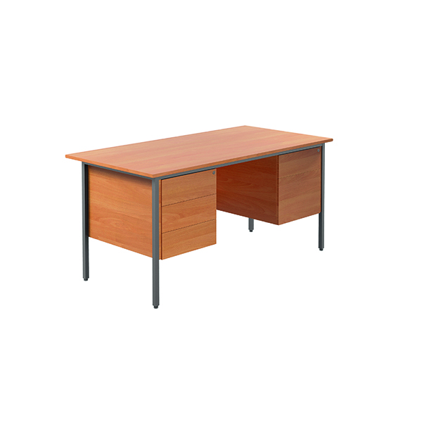 Unspecified Serrion Bavarian Beech 1500mm Four Leg Desk with Double Pedestal KF838379