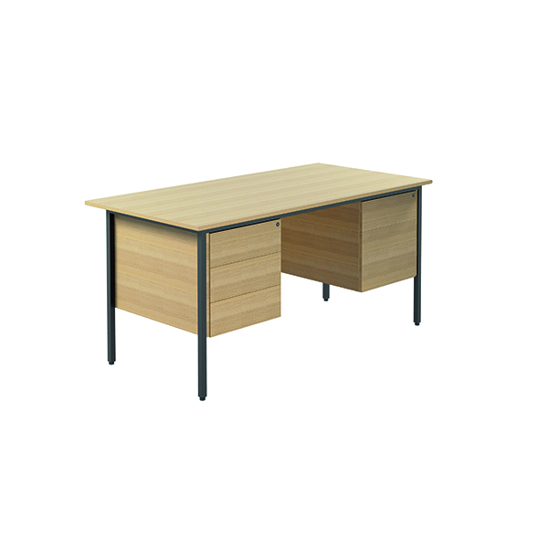 Unspecified Serrion Ferrera Oak 1500mm Four Leg Desk with Double Pedestal KF838380