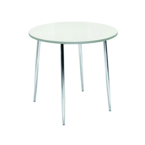 Arista White/Chrome 800mm Round Bistro Table KF838543
