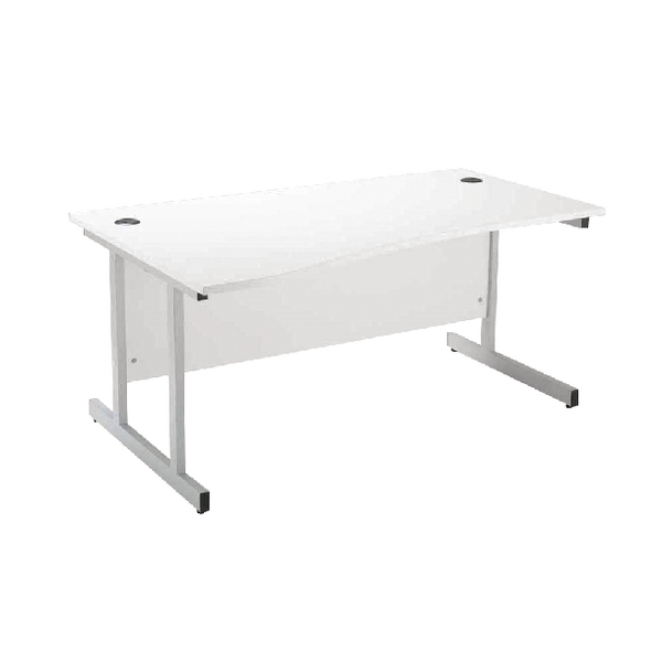 Wave Jemini White/Silver 1600mm Left Hand Wave Cantilever Desk KF838695