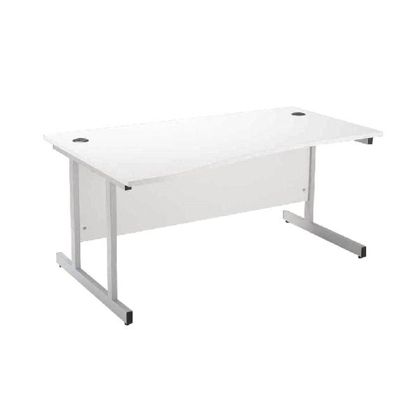 Jemini White/Silver 1600mm Left Hand Wave Cantilever Desk KF838695