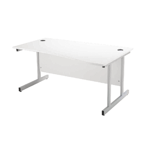 Wave Jemini White/Silver 1600mm Right Hand Wave Cantilever Desk KF838696