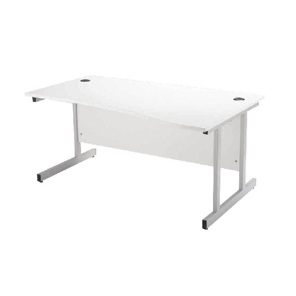 Jemini White/Silver 1600mm Right Hand Wave Cantilever Desk KF838696