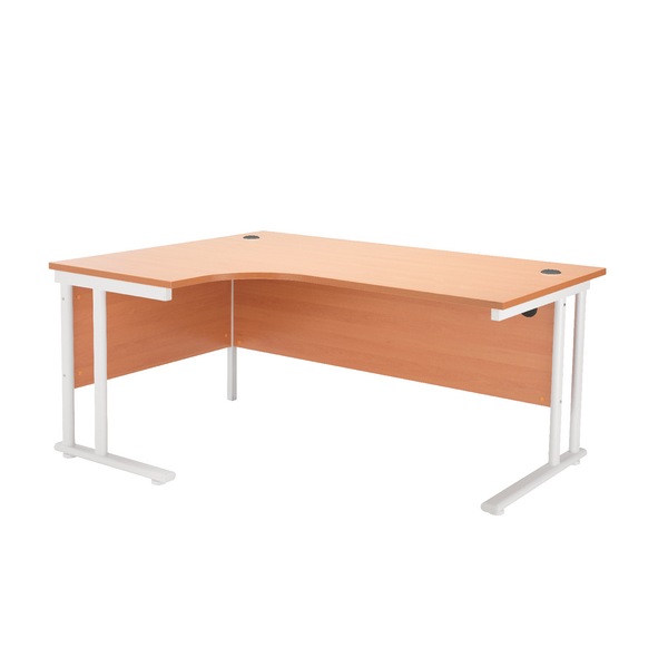 Radial First Radial Left Hand Cantilever Desk 1600mm Beech with White Leg KF838909