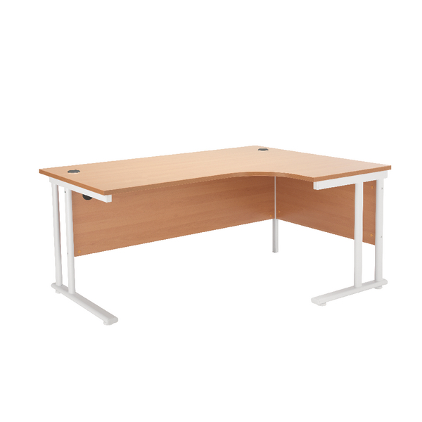 Radial First Radial Right Hand Cantilever Desk 1600mm Beech with White Leg KF838910