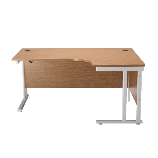 Radial First Radial Right Hand Cantilever Desk 1600mm Oak with White Leg KF838912