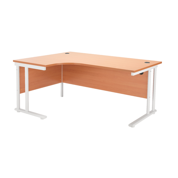 Radial First Radial Left Hand Cantilever Desk 1800mm Beech with White Leg KF838915