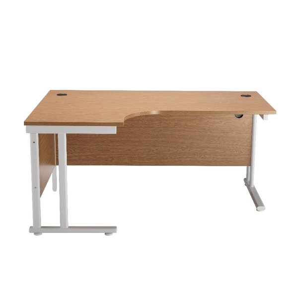 First Radial Left Hand Cantilever Desk 1800mm Oak with White Leg KF838917
