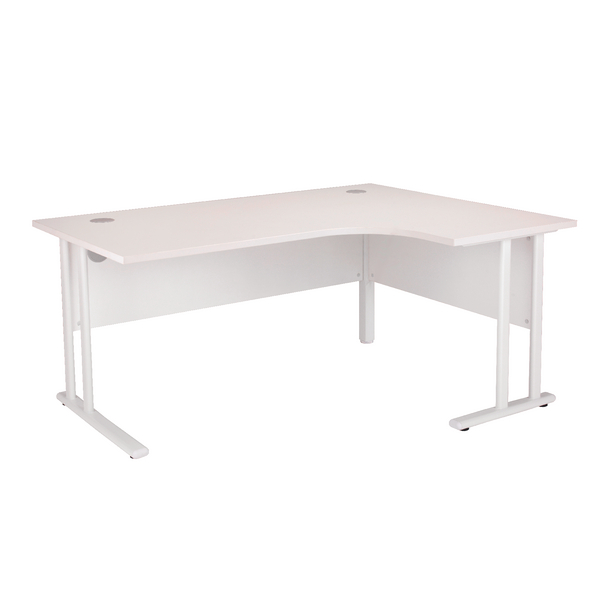 First Radial Right Hand Cantilever Desk 1800mm White with White Leg KF838920