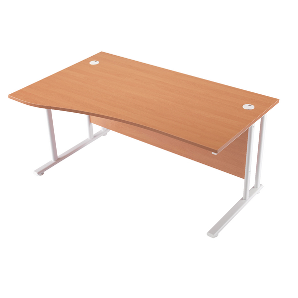 Wave First Wave Left Hand Cantilever Desk 1600mm Beech with White Leg KF838921