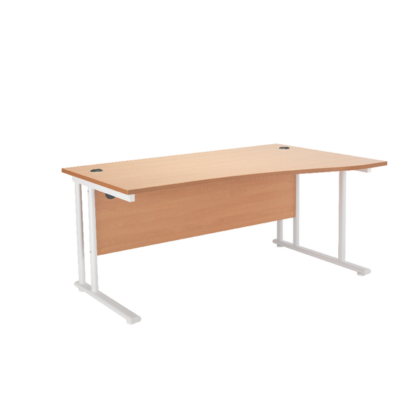 First Wave Right Hand Cantilever Desk 1600mm Beech with White Leg KF838922