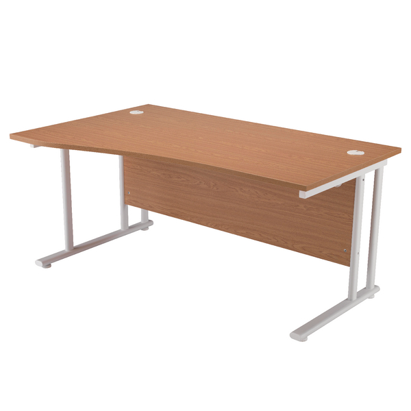 Wave First Wave Left Hand Cantilever Desk 1600mm Oak with White Leg KF838923