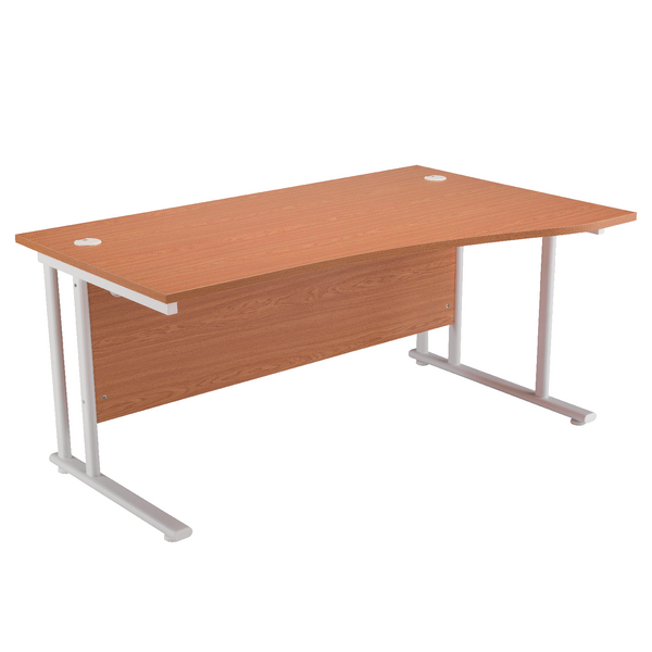 Wave First Wave Right Hand Cantilever Desk 1600mm Oak with White Leg KF838924