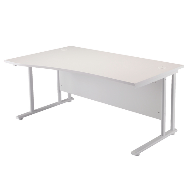 First Wave Left Hand Cantilever Desk 1600mm White with White Leg KF838925
