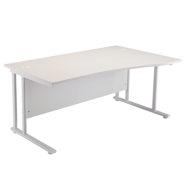 First Wave Right Hand Cantilever Desk 1600mm White with White Leg KF838926