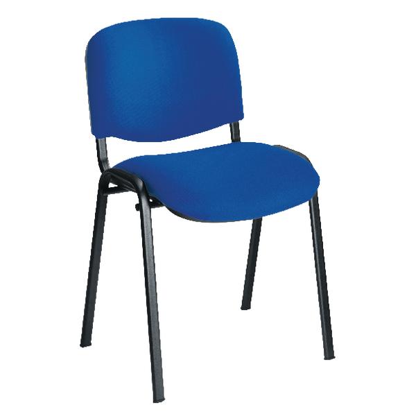 First Multipurpose Stacking Chair Black Frame Blue Upholstery KF839224